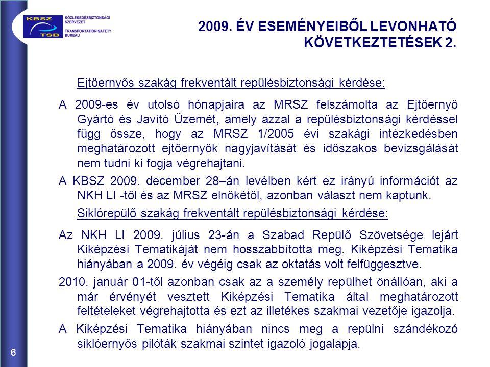 Ejtőernyős szakág frekventált repülésbiztonsági kérdése: A 2009-es év utolsó hónapjaira az MRSZ felszámolta az Ejtőernyő Gyártó és Javító Üzemét, amely azzal a repülésbiztonsági kérdéssel függ össze, hogy az MRSZ 1/2005 évi szakági intézkedésben meghatározott ejtőernyők nagyjavítását és időszakos bevizsgálását nem tudni ki fogja végrehajtani.