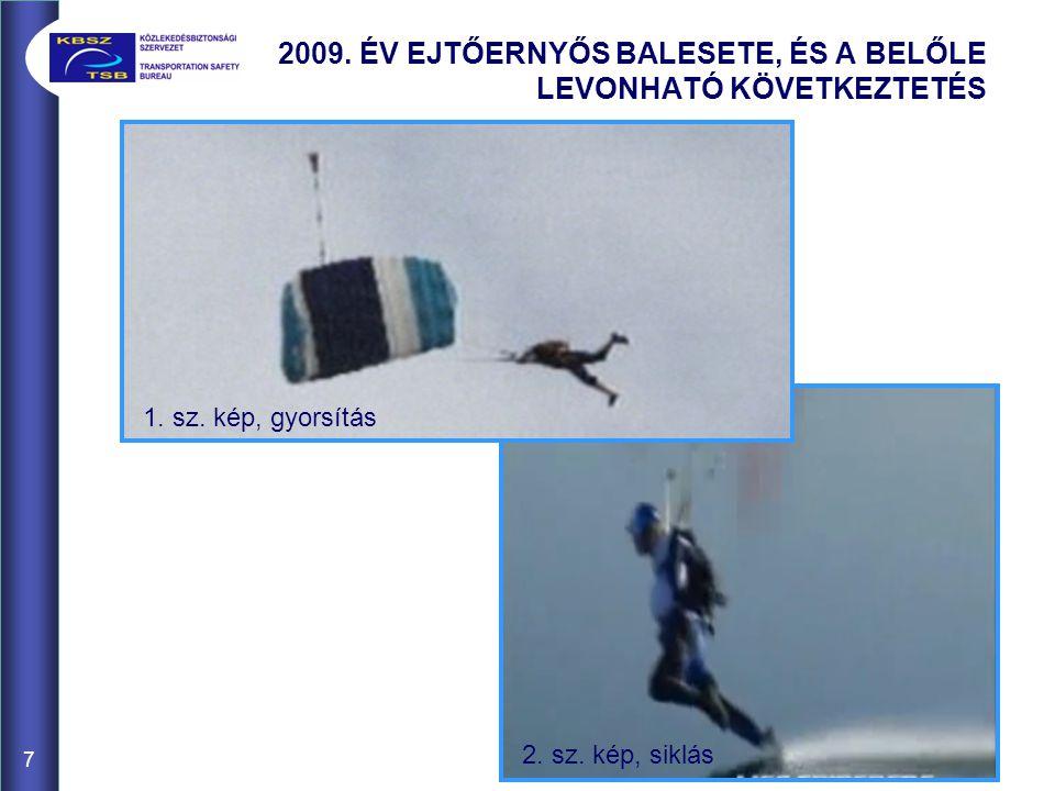 2009. ÉV EJTŐERNYŐS BALESETE, ÉS A BELŐLE LEVONHATÓ KÖVETKEZTETÉS 7 2. sz. kép, siklás 1. sz. kép, gyorsítás