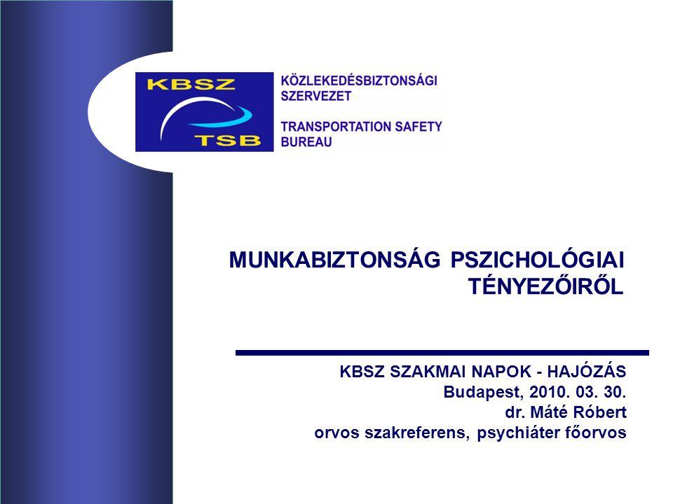MUNKABIZTONSÁG PSZICHOLÓGIAI TÉNYEZŐIRŐL KBSZ SZAKMAI NAPOK - HAJÓZÁS Budapest, 2010. 03. 30. dr. Máté Róbert orvos szakreferens, psychiáter főorvos