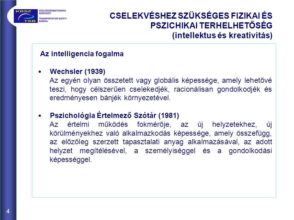 Az intelligencia fogalma Wechsler (1939) Az egyén olyan összetett vagy globális képessége, amely lehetővé teszi, hogy célszerűen cselekedjék, racionál