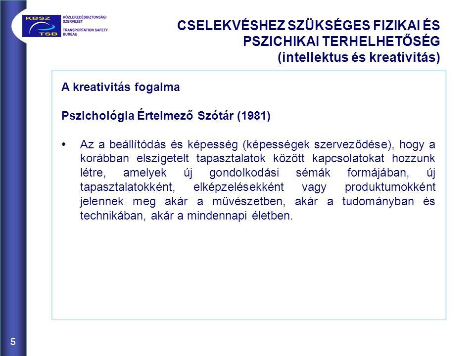 A kreativitás fogalma Pszichológia Értelmező Szótár (1981) Az a beállítódás és képesség (képességek szerveződése), hogy a korábban elszigetelt tapaszt