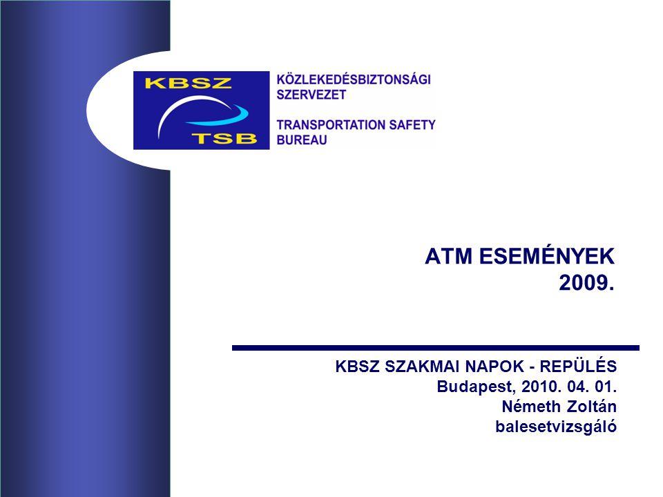 ATM ESEMÉNYEK 2009. KBSZ SZAKMAI NAPOK - REPÜLÉS Budapest, 2010. 04. 01. Németh Zoltán balesetvizsgáló