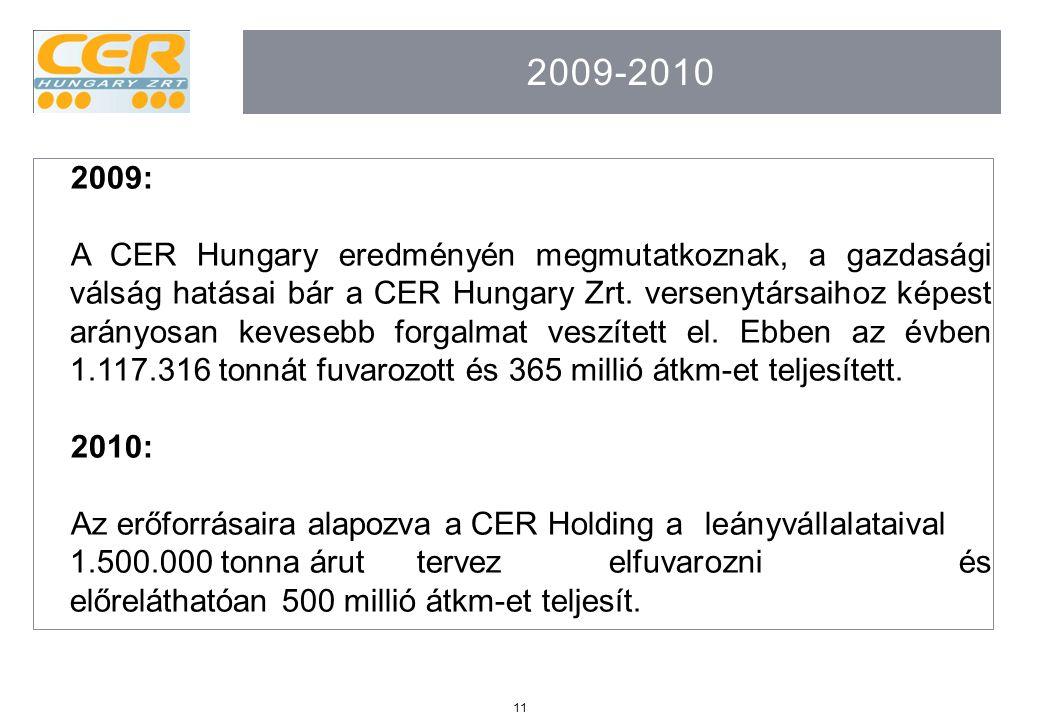 11 2009-2010 2009: A CER Hungary eredményén megmutatkoznak, a gazdasági válság hatásai bár a CER Hungary Zrt. versenytársaihoz képest arányosan kevese