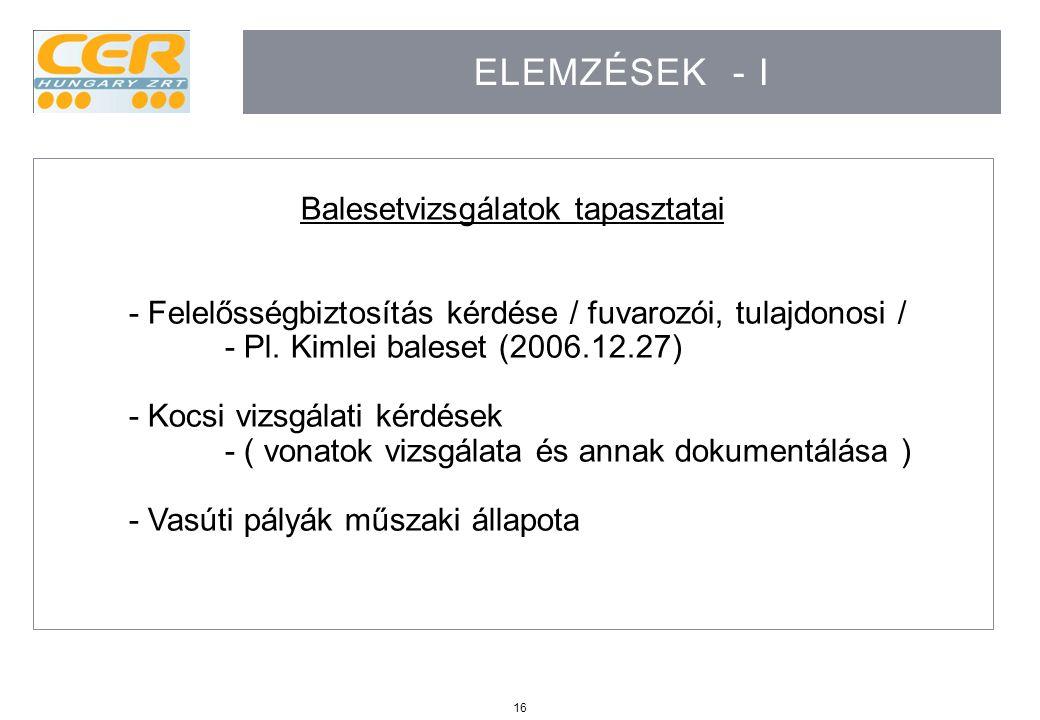16 ELEMZÉSEK - I Balesetvizsgálatok tapasztatai - Felelősségbiztosítás kérdése / fuvarozói, tulajdonosi / - Pl. Kimlei baleset (2006.12.27) - Kocsi vi
