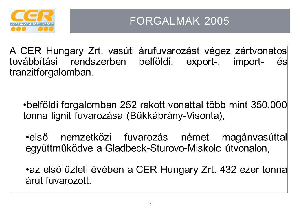 7 FORGALMAK 2005 A CER Hungary Zrt. vasúti árufuvarozást végez zártvonatos továbbítási rendszerben belföldi, export-, import- és tranzitforgalomban. b