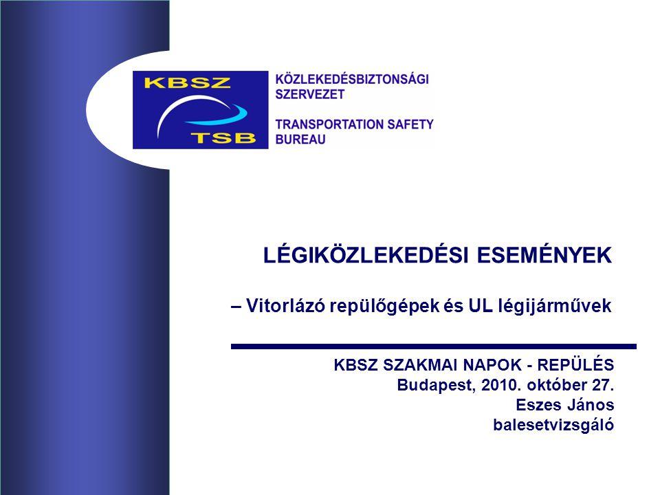 LÉGIKÖZLEKEDÉSI ESEMÉNYEK – Vitorlázó repülőgépek és UL légijárművek KBSZ SZAKMAI NAPOK - REPÜLÉS Budapest, 2010. október 27. Eszes János balesetvizsg