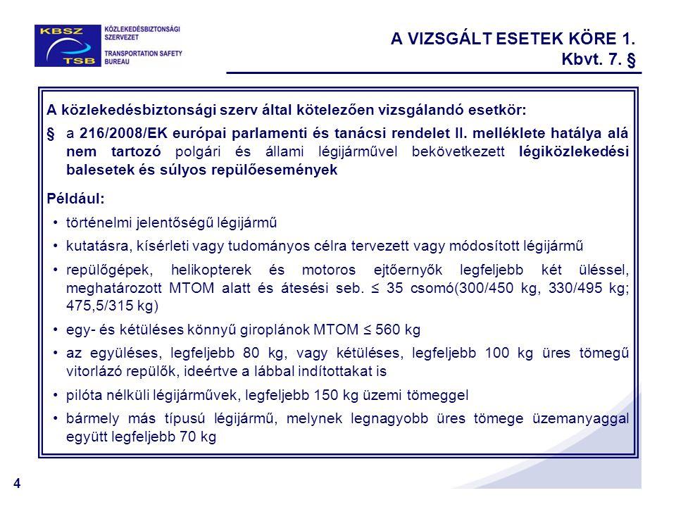 5 A közlekedésbiztonsági szerv döntése alapján vizsgálandó esetkör: § a 216/2008/EK rendelet II.