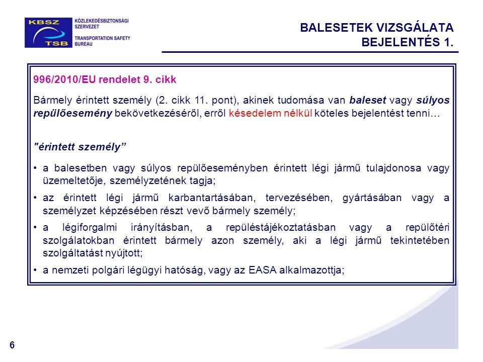 6 BALESETEK VIZSGÁLATA BEJELENTÉS 1. 996/2010/EU rendelet 9.