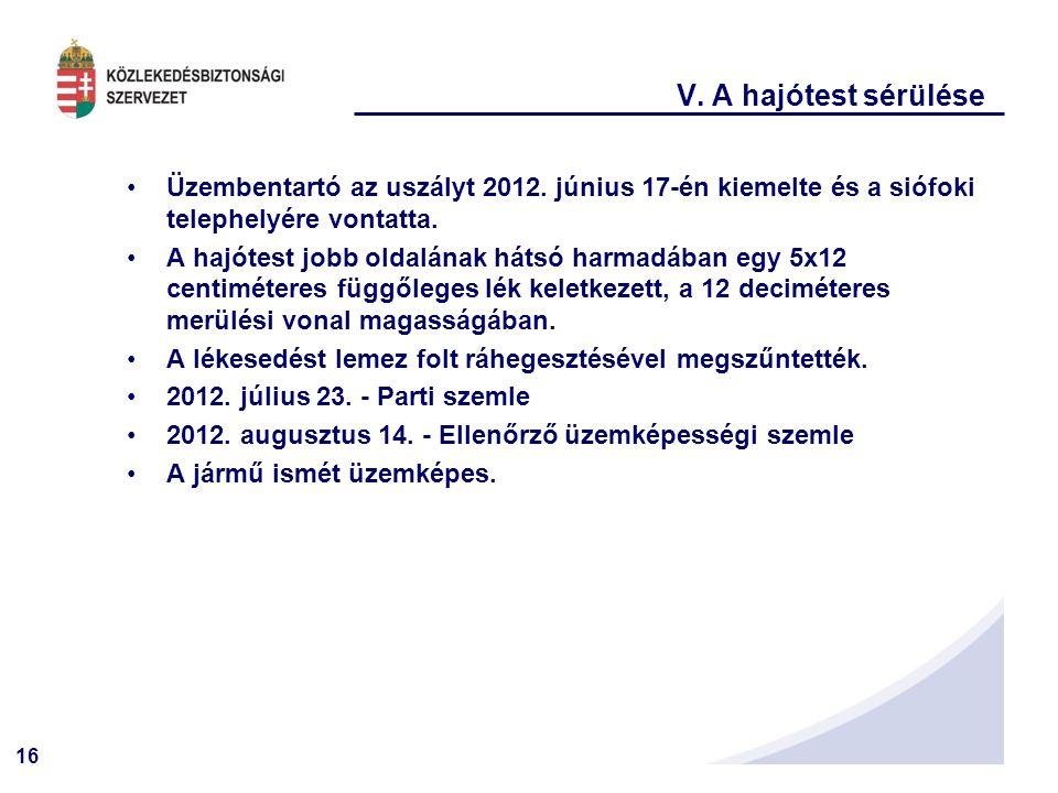 16 V.A hajótest sérülése Üzembentartó az uszályt 2012.