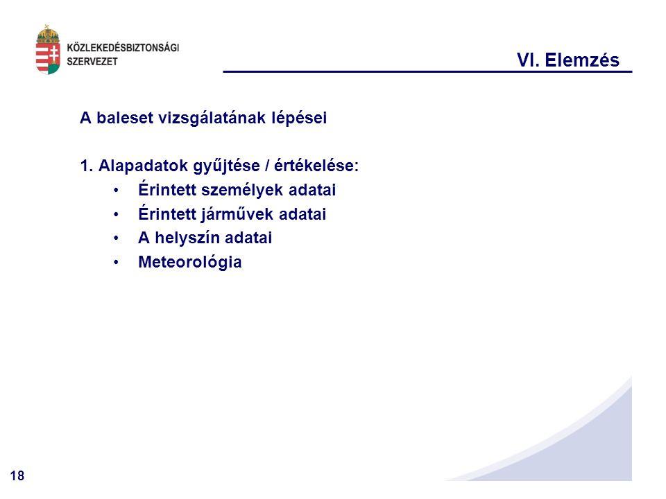 18 VI.Elemzés A baleset vizsgálatának lépései 1.