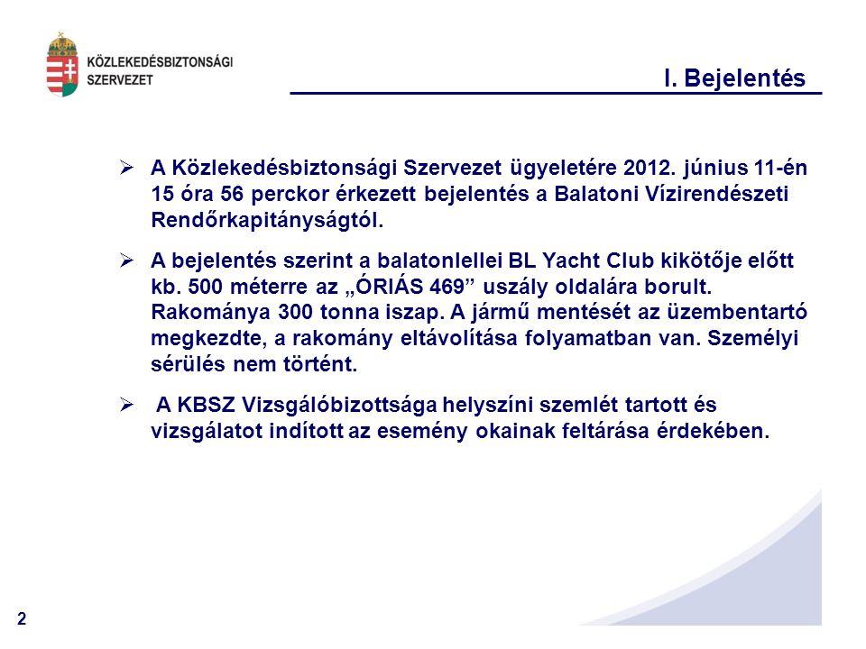 2 I.Bejelentés  A Közlekedésbiztonsági Szervezet ügyeletére 2012.