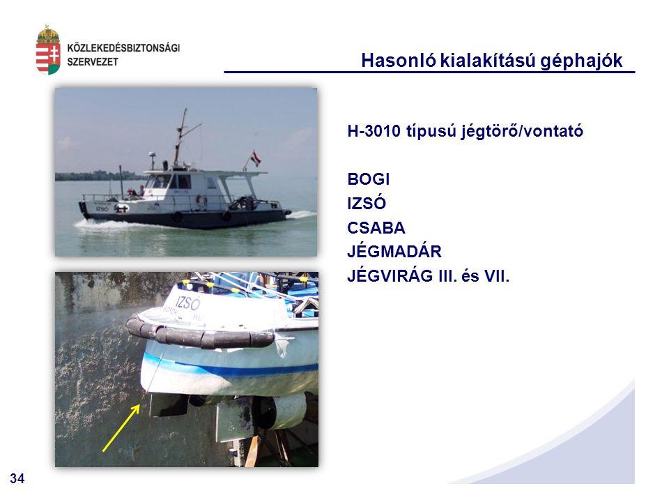 34 Hasonló kialakítású géphajók H-3010 típusú jégtörő/vontató BOGI IZSÓ CSABA JÉGMADÁR JÉGVIRÁG III.