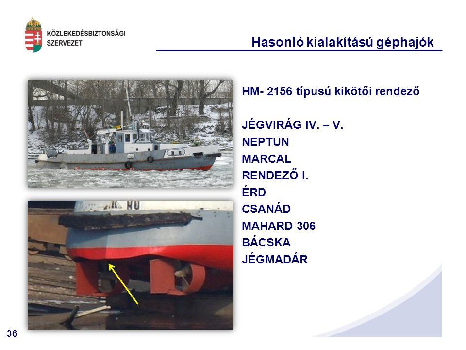 36 Hasonló kialakítású géphajók HM- 2156 típusú kikötői rendező JÉGVIRÁG IV.