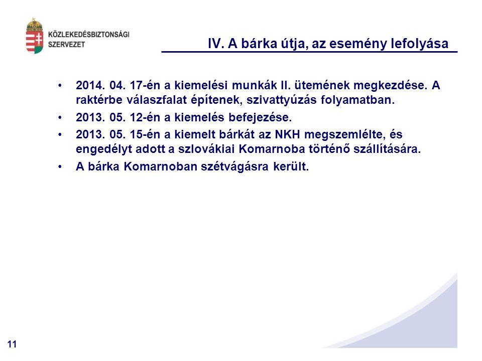 11 IV. A bárka útja, az esemény lefolyása 2014. 04. 17-én a kiemelési munkák II. ütemének megkezdése. A raktérbe válaszfalat építenek, szivattyúzás fo