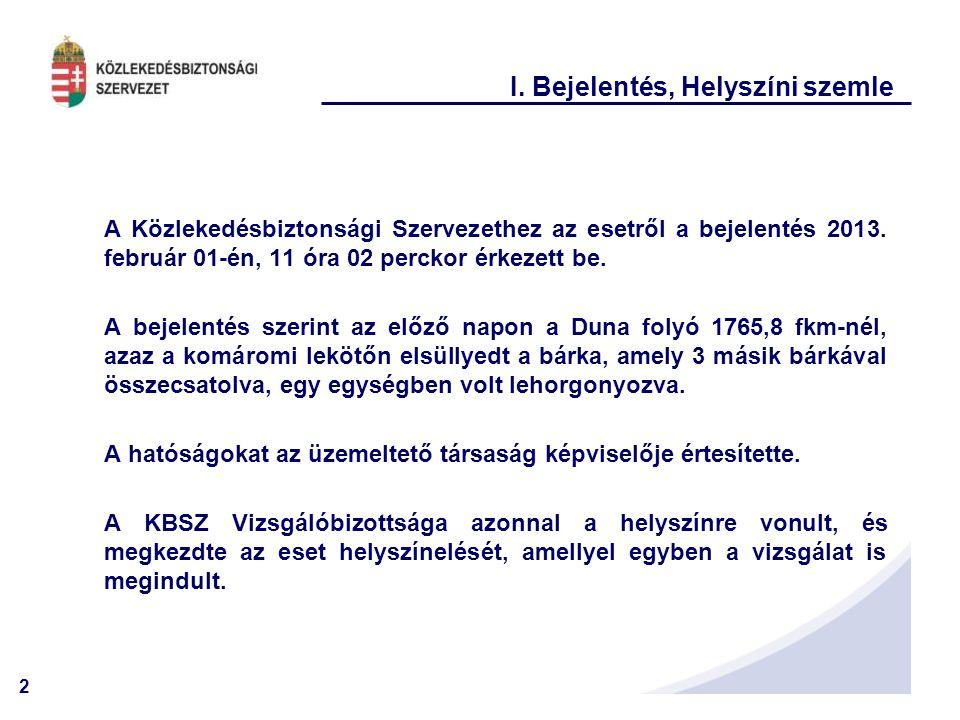 2 I. Bejelentés, Helyszíni szemle A Közlekedésbiztonsági Szervezethez az esetről a bejelentés 2013. február 01-én, 11 óra 02 perckor érkezett be. A be