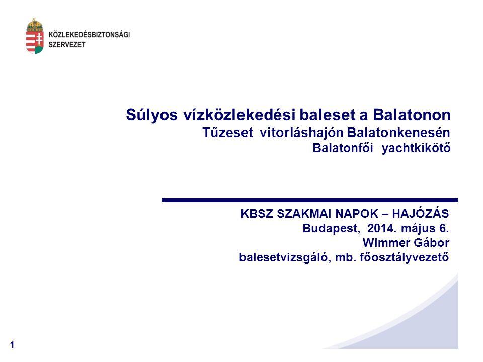 1 Súlyos vízközlekedési baleset a Balatonon Tűzeset vitorláshajón Balatonkenesén Balatonfői yachtkikötő KBSZ SZAKMAI NAPOK – HAJÓZÁS Budapest, 2014. m