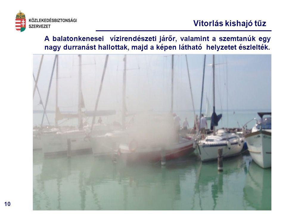 10 Vitorlás kishajó tűz A balatonkenesei vízirendészeti járőr, valamint a szemtanúk egy nagy durranást hallottak, majd a képen látható helyzetet észle