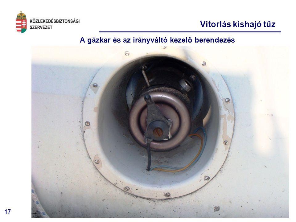 17 Vitorlás kishajó tűz A gázkar és az irányváltó kezelő berendezés
