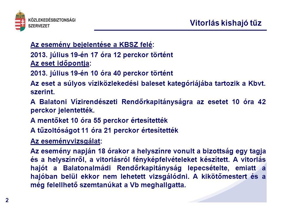 2 Vitorlás kishajó tűz Az esemény bejelentése a KBSZ felé: 2013. július 19-én 17 óra 12 perckor történt Az eset időpontja: 2013. július 19-én 10 óra 4