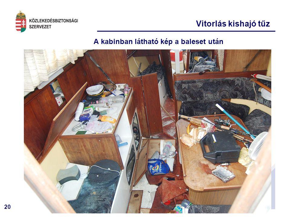 20 A kabinban látható kép a baleset után Vitorlás kishajó tűz