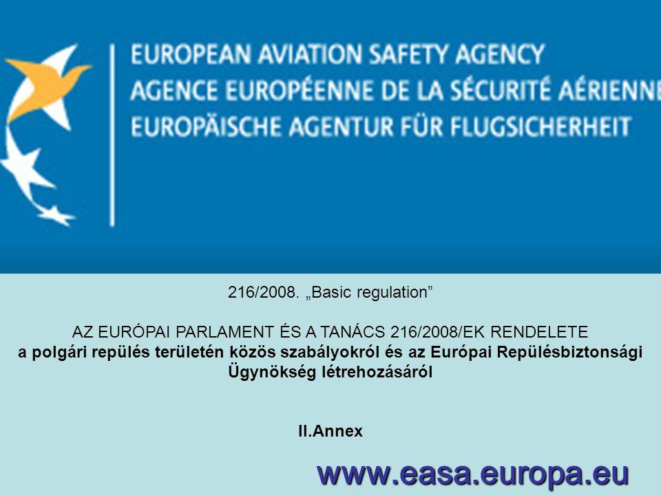 """www.easa.europa.eu 216/2008. """"Basic regulation"""" AZ EURÓPAI PARLAMENT ÉS A TANÁCS 216/2008/EK RENDELETE a polgári repülés területén közös szabályokról"""