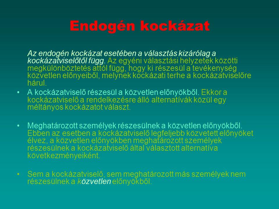 Endogén kockázat Az endogén kockázat esetében a választás kizárólag a kockázatviselőtől függ. Az egyéni választási helyzetek közötti megkülönböztetés