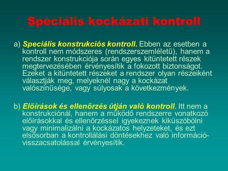 Speciális kockázati kontroll a) Speciális konstrukciós kontroll. Ebben az esetben a kontroll nem módszeres (rendszerszemléletű), hanem a rendszer kon