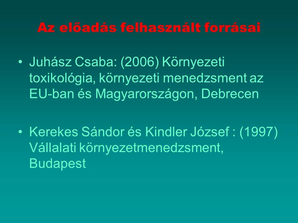 Az előadás felhasznált forrásai Juhász Csaba: (2006) Környezeti toxikológia, környezeti menedzsment az EU-ban és Magyarországon, Debrecen Kerekes Sánd