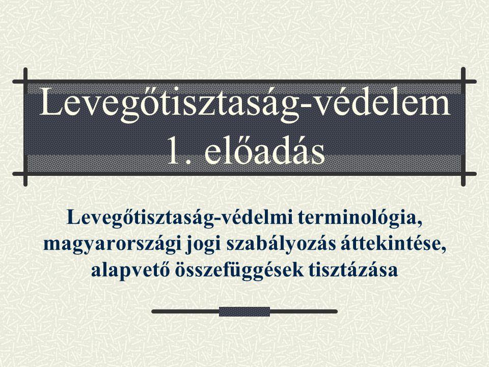 Levegőtisztaság-védelem 1. előadás Levegőtisztaság-védelmi terminológia, magyarországi jogi szabályozás áttekintése, alapvető összefüggések tisztázása