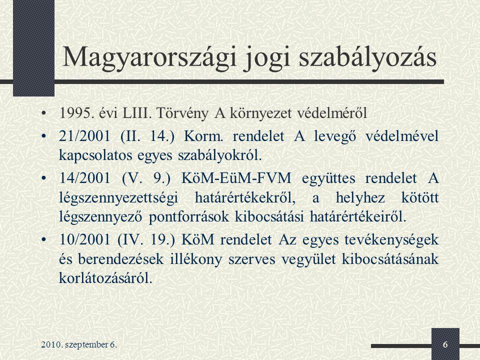 2010. szeptember 6.6 Magyarországi jogi szabályozás 1995. évi LIII. Törvény A környezet védelméről 21/2001 (II. 14.) Korm. rendelet A levegő védelméve