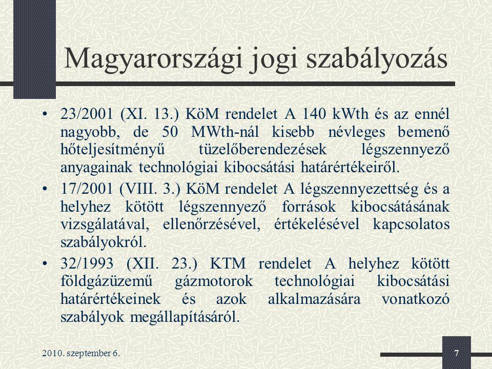 2010. szeptember 6.7 Magyarországi jogi szabályozás 23/2001 (XI. 13.) KöM rendelet A 140 kWth és az ennél nagyobb, de 50 MWth-nál kisebb névleges beme