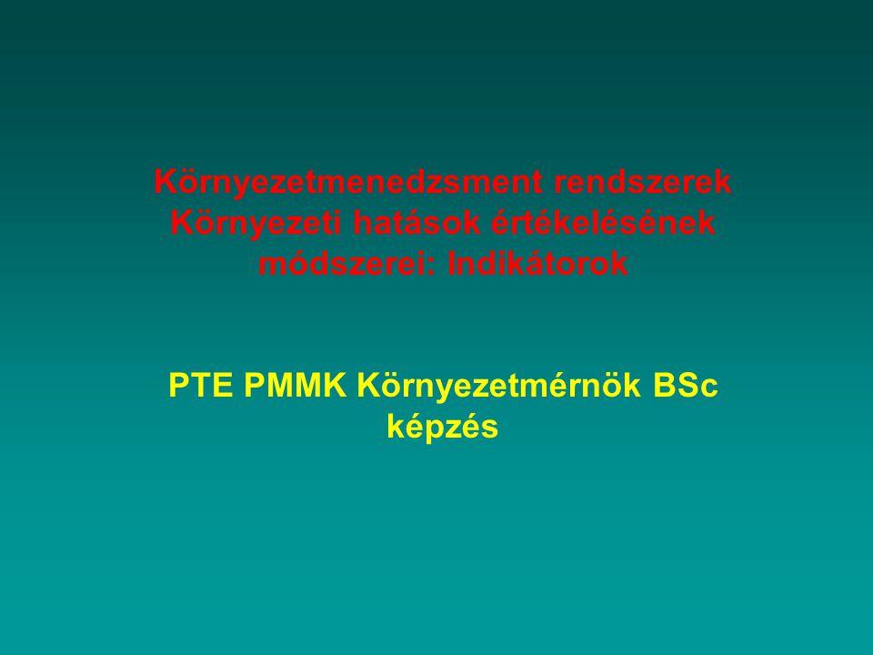 Környezetmenedzsment rendszerek Környezeti hatások értékelésének módszerei: Indikátorok PTE PMMK Környezetmérnök BSc képzés