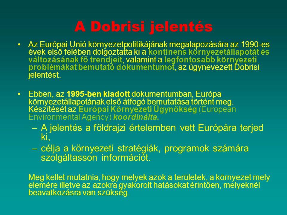 A Dobrisi jelentés Az Európai Unió környezetpolitikájának megalapozására az 1990-es évek első felében dolgoztatta ki a kontinens környezetállapotát és változásának fő trendjeit, valamint a legfontosabb környezeti problémákat bemutató dokumentumot, az úgynevezett Dobrisi jelentést.