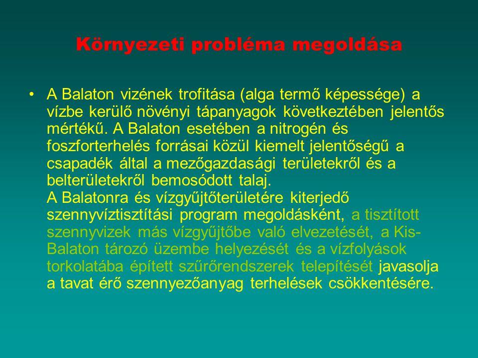 Környezeti probléma megoldása A Balaton vizének trofitása (alga termő képessége) a vízbe kerülő növényi tápanyagok következtében jelentős mértékű.