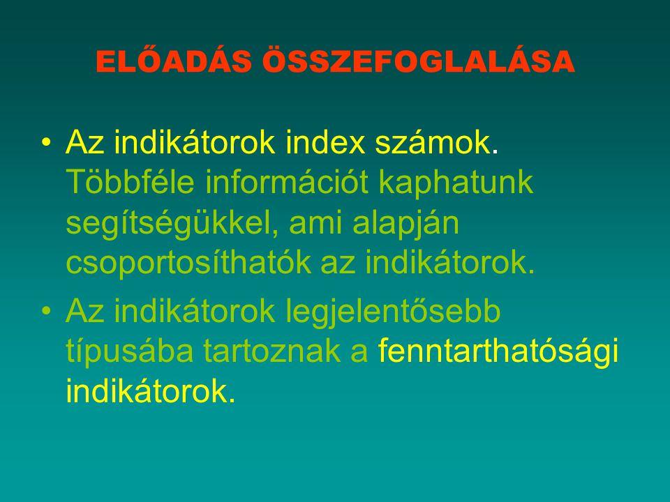ELŐADÁS ÖSSZEFOGLALÁSA Az indikátorok index számok.