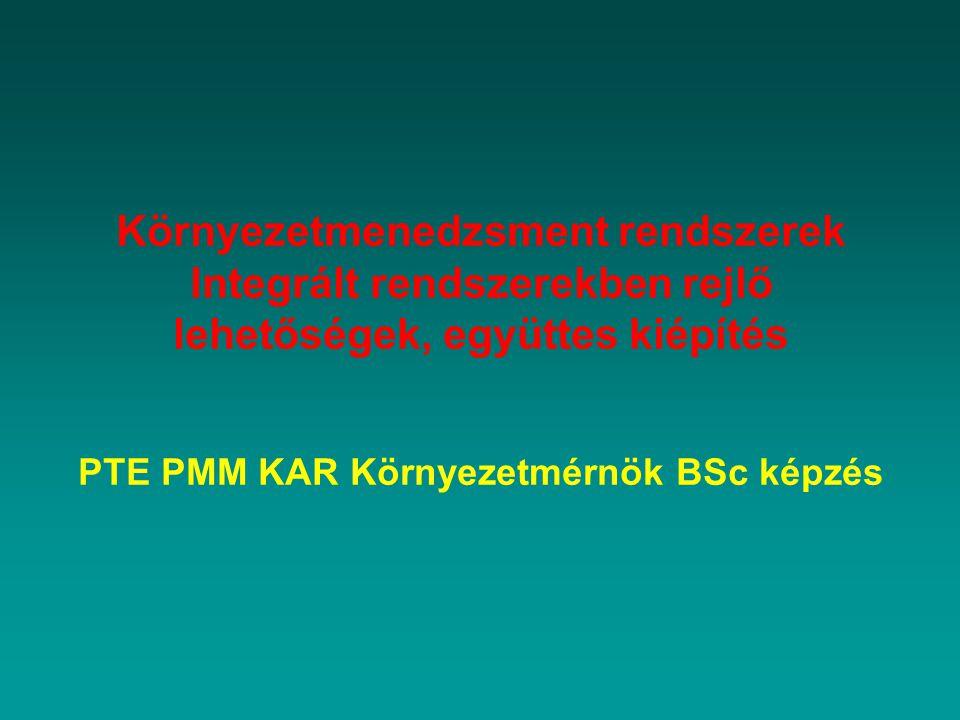 Környezetmenedzsment rendszerek Integrált rendszerekben rejlő lehetőségek, együttes kiépítés PTE PMM KAR Környezetmérnök BSc képzés