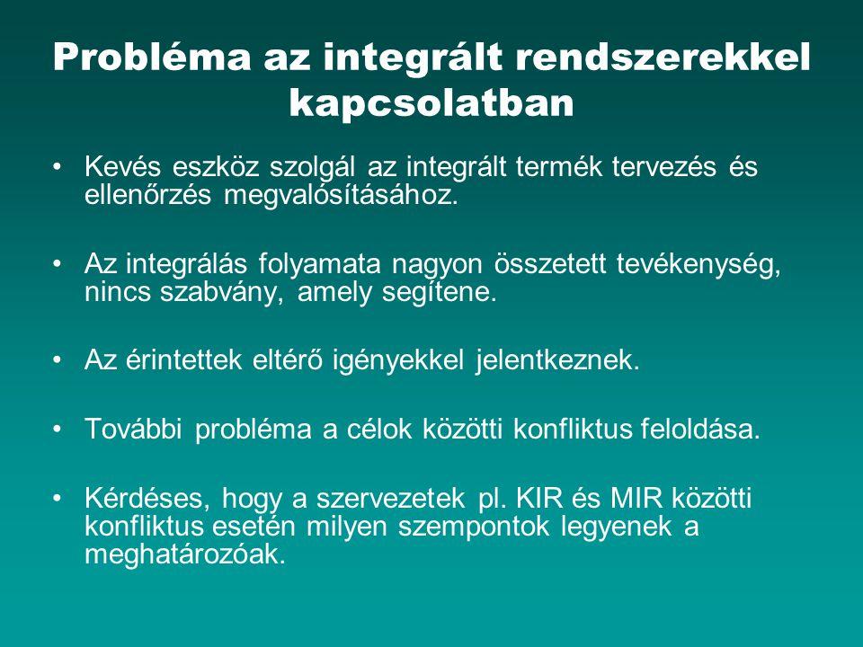 Probléma az integrált rendszerekkel kapcsolatban Kevés eszköz szolgál az integrált termék tervezés és ellenőrzés megvalósításához.
