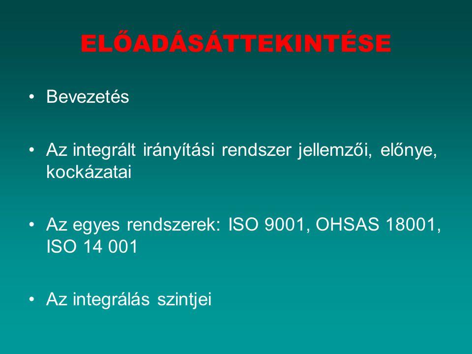 Bevezetés Az integrált irányítási rendszer jellemzői, előnye, kockázatai Az egyes rendszerek: ISO 9001, OHSAS 18001, ISO 14 001 Az integrálás szintjei ELŐADÁSÁTTEKINTÉSE