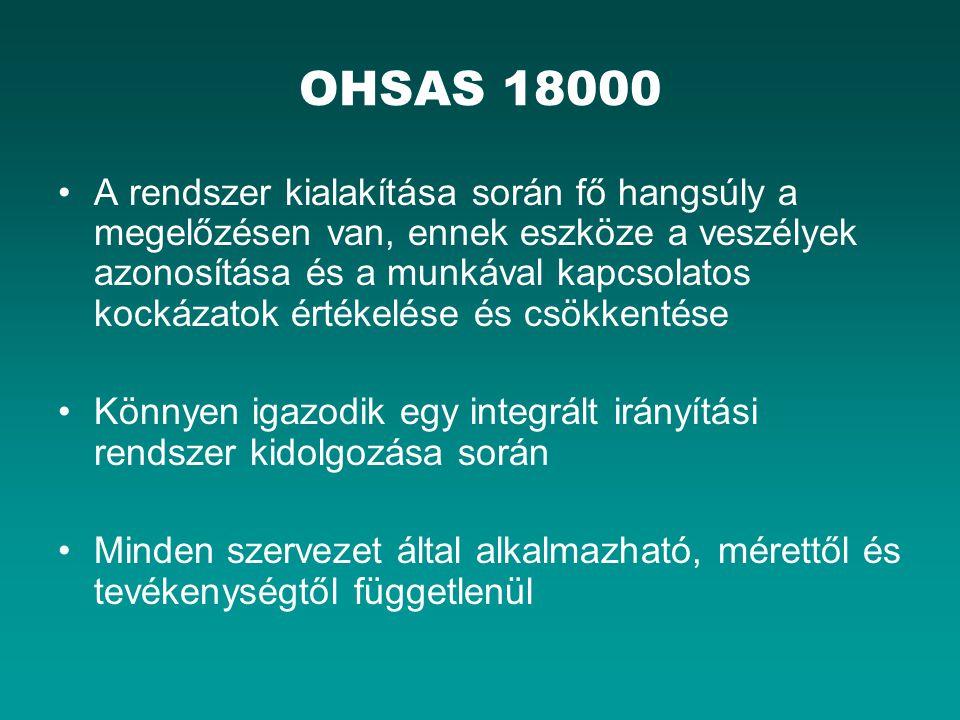 OHSAS 18000 A rendszer kialakítása során fő hangsúly a megelőzésen van, ennek eszköze a veszélyek azonosítása és a munkával kapcsolatos kockázatok értékelése és csökkentése Könnyen igazodik egy integrált irányítási rendszer kidolgozása során Minden szervezet által alkalmazható, mérettől és tevékenységtől függetlenül