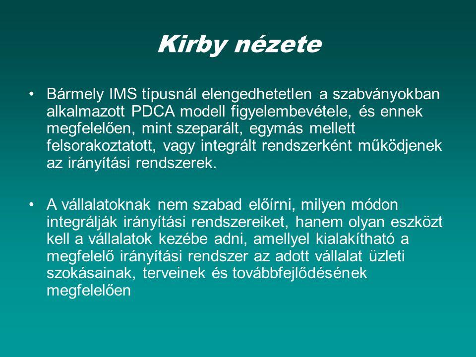 Kirby nézete Bármely IMS típusnál elengedhetetlen a szabványokban alkalmazott PDCA modell figyelembevétele, és ennek megfelelően, mint szeparált, egymás mellett felsorakoztatott, vagy integrált rendszerként működjenek az irányítási rendszerek.