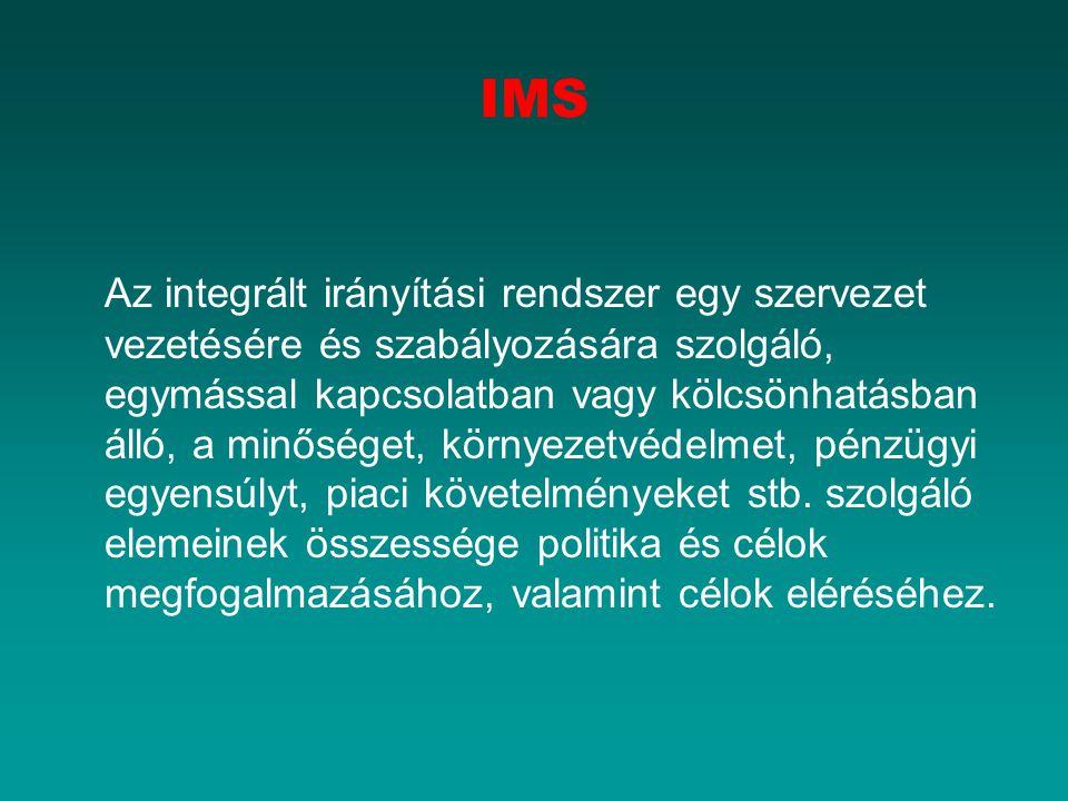 IMS Az integrált irányítási rendszer egy szervezet vezetésére és szabályozására szolgáló, egymással kapcsolatban vagy kölcsönhatásban álló, a minőséget, környezetvédelmet, pénzügyi egyensúlyt, piaci követelményeket stb.