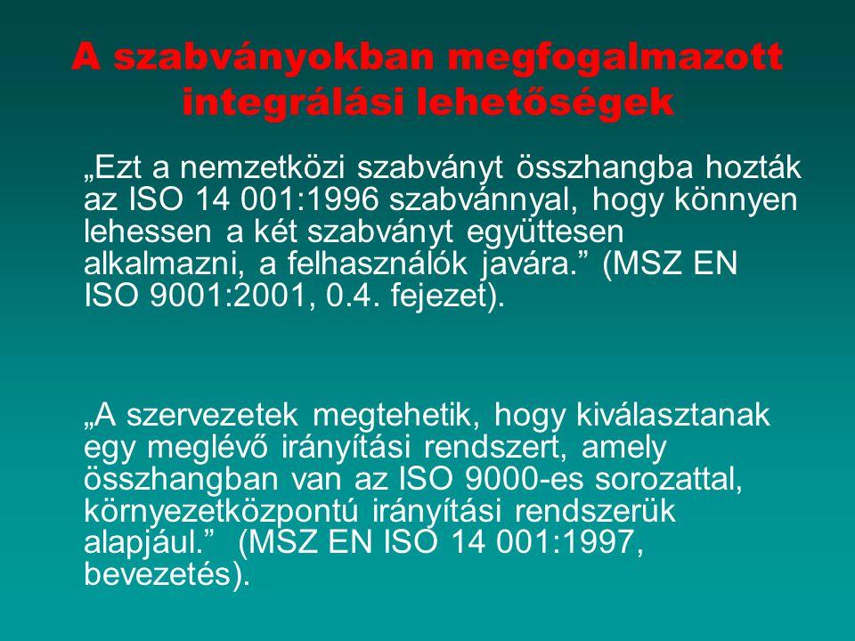 """A szabványokban megfogalmazott integrálási lehetőségek """"Ezt a nemzetközi szabványt összhangba hozták az ISO 14 001:1996 szabvánnyal, hogy könnyen lehessen a két szabványt együttesen alkalmazni, a felhasználók javára. (MSZ EN ISO 9001:2001, 0.4."""