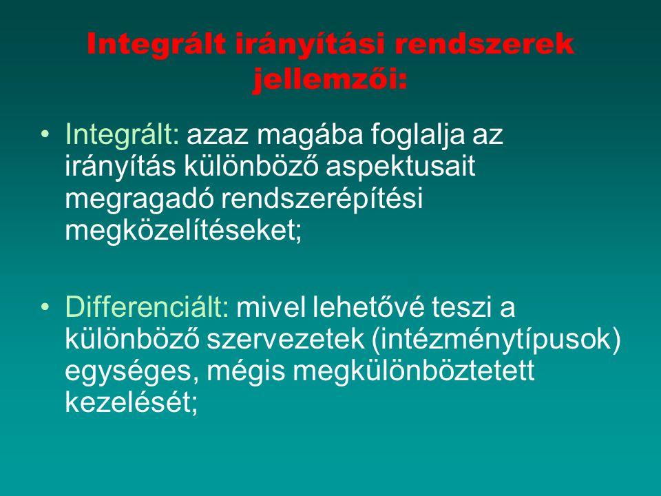 Integrált irányítási rendszerek jellemzői: Integrált: azaz magába foglalja az irányítás különböző aspektusait megragadó rendszerépítési megközelítéseket; Differenciált: mivel lehetővé teszi a különböző szervezetek (intézménytípusok) egységes, mégis megkülönböztetett kezelését;