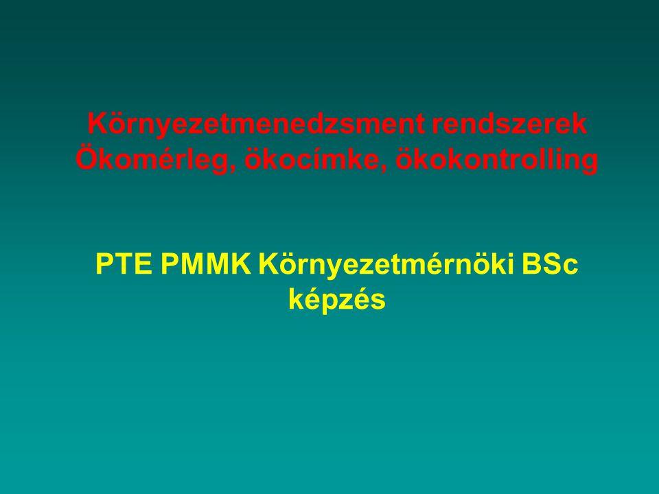 Környezetmenedzsment rendszerek Ökomérleg, ökocímke, ökokontrolling PTE PMMK Környezetmérnöki BSc képzés