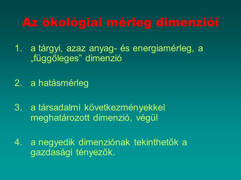"""Az ökológiai mérleg dimenziói 1.a tárgyi, azaz anyag- és energiamérleg, a """"függőleges"""" dimenzió 2.a hatásmérleg 3.a társadalmi következményekkel megha"""