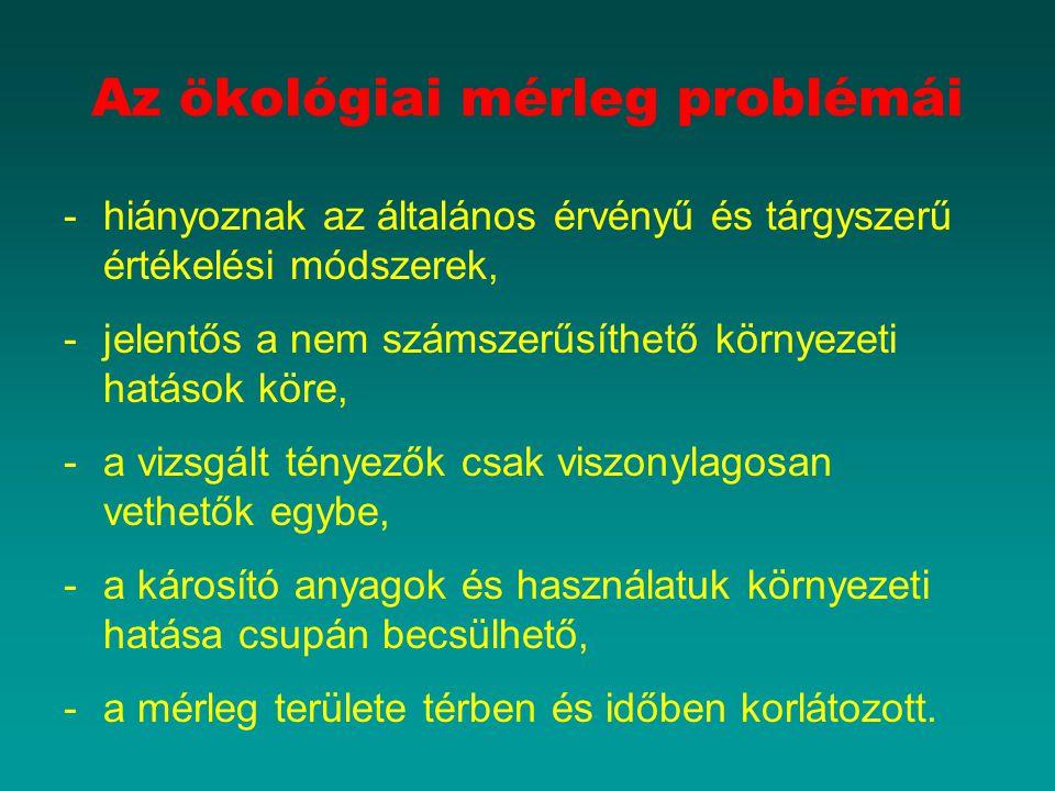 Az ökológiai mérleg problémái -hiányoznak az általános érvényű és tárgyszerű értékelési módszerek, -jelentős a nem számszerűsíthető környezeti hatások