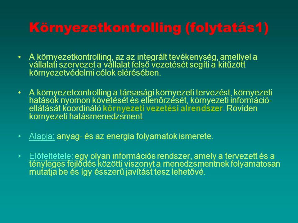 Környezetkontrolling (folytatás1) A környezetkontrolling, az az integrált tevékenység, amellyel a vállalati szervezet a vállalat felső vezetését segít
