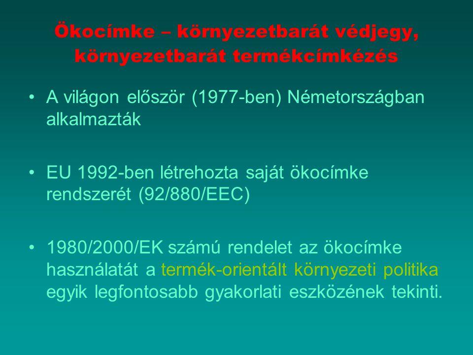 Ökocímke – környezetbarát védjegy, környezetbarát termékcímkézés A világon először (1977-ben) Németországban alkalmazták EU 1992-ben létrehozta saját