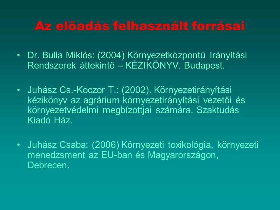 Az előadás felhasznált forrásai Dr. Bulla Miklós: (2004) Környezetközpontú Irányítási Rendszerek áttekintő – KÉZIKÖNYV. Budapest. Juhász Cs.-Koczor T.