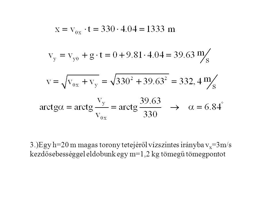 3.)Egy h=20 m magas torony tetejéről vízszintes irányba v x =3m/s kezdősebességgel eldobunk egy m=1,2 kg tömegű tömegpontot